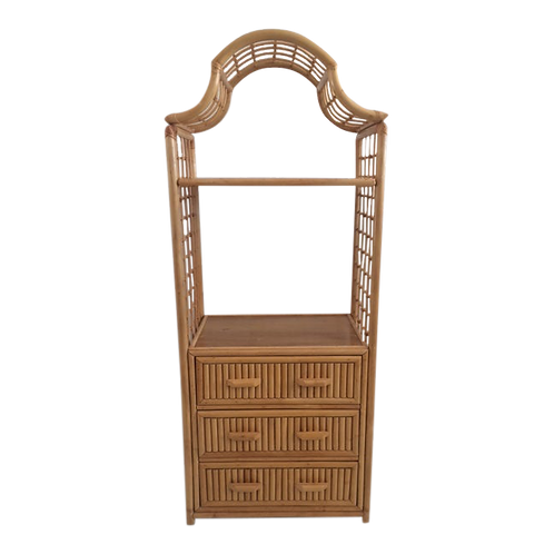 Rattan Pagoda Etagere With Drawers