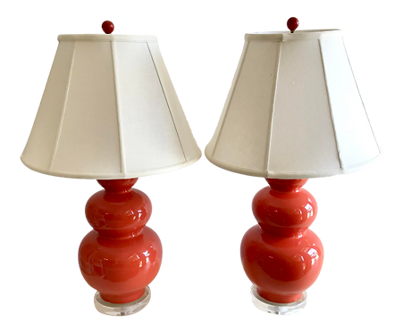 Coral Glazed Gord Table Lamps With Lucite Bases - a Pair