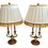 Thumbnail: Stiffel Brass Lamps With Jansen Lamp Shades - a Pair