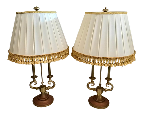 Stiffel Brass Lamps With Jansen Lamp Shades - a Pair