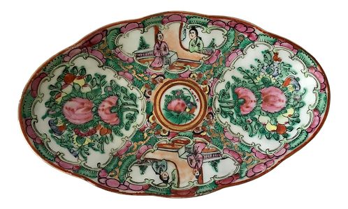 1950s Chinese Rose Medallion Oval Dish