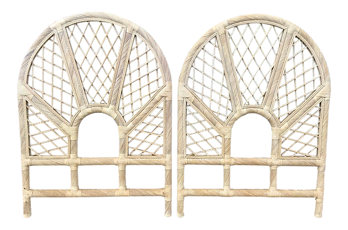 Boho Chic Rattan Twin Headboards in a White Washed Finish- a Pair