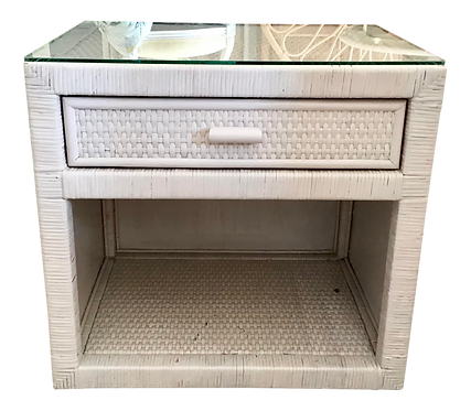 Boho Chic White Washed Finish Bielecky Brothers Rattan Nightstand With a Glass T
