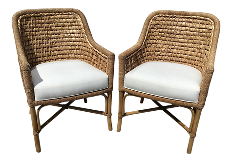 Boho Chic Natural Rattan and Sea Grass Chairs With Off White Cushions - a Pair