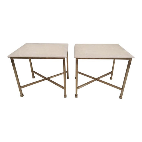 Modern Todd Hase Christelle Cocktail Tables With Onyx Tops - a Pair