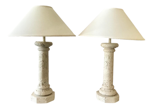 Faux Coquina Table Lamps With Shade - a Pair