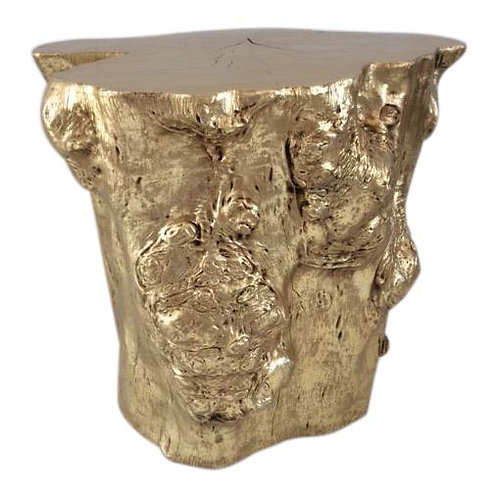 Abstract Gold Tree Trunk Side Table