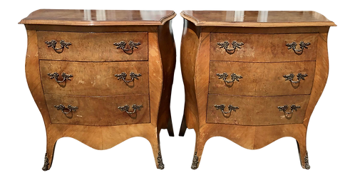 French Louis XV Small Commode Nightstands - a Pair