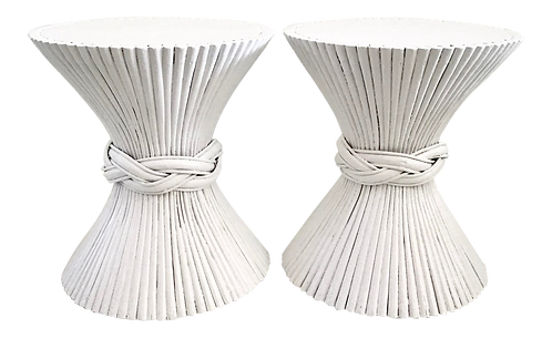 White Lacquered McGuire Pencil Reed Rattan Side Tables - A Pair