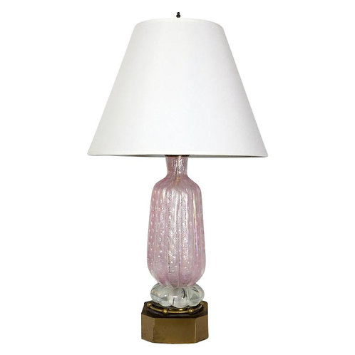 Vintage Pink Murano Table Lamp
