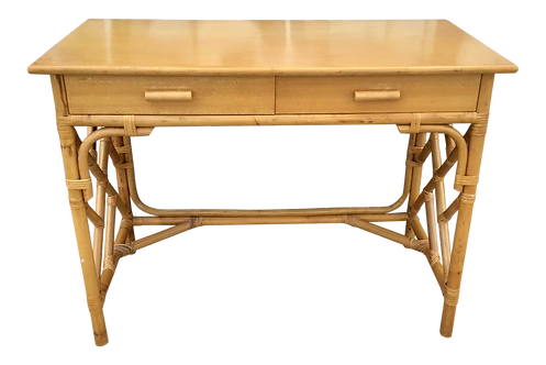 Rattan Chippendale Writing Desk With Drawers