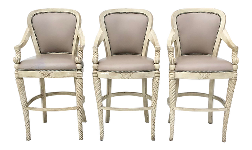 Set of 3 Continental Bar Stools in Leather