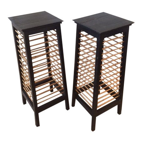 Asian Bamboo and Painted Wood Pedestals - A Pair