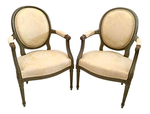 French Bronze Louis XVI Fauteuils in New Yellow Damask Upholstery - A Pair