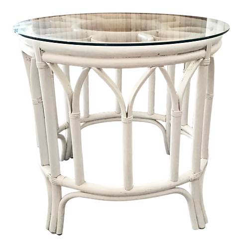 Ficks Reed Round Rattan Boho Chic Side Table