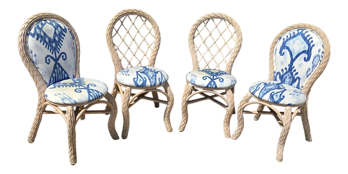 Boho Chic Rattan Dining Chairs - Set of 4