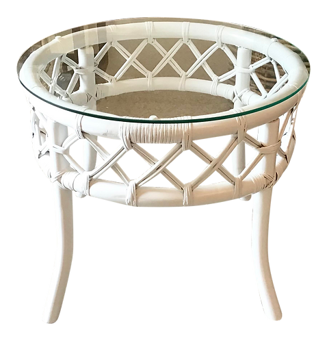 Ficks Reed Round Rattan Side Table in Fresh White