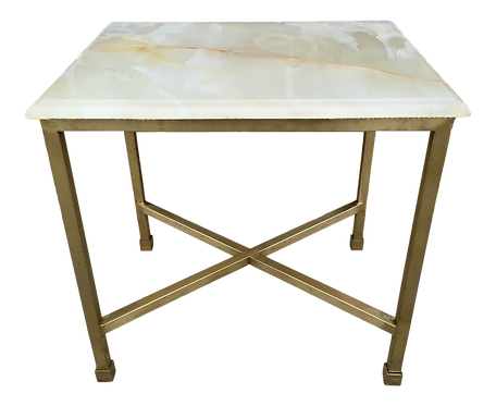 Modern Todd Hase Christelle Cocktail Table With Onyx Top