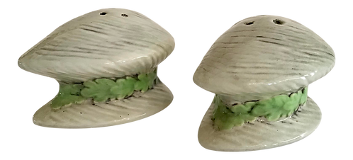 Clam Salt and Pepper Shakers - a Pair