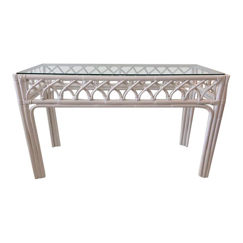 1980s Boho Chic Rattan Console Table