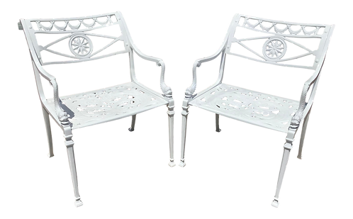 1950s Dolphin Arm Patio Chairs in Fresh White - a Pair
