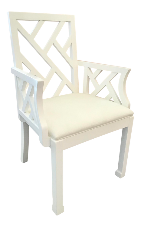 Vintage White Chippendale Arm Chair in White Lacquer