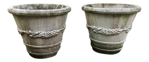 Cast Cement Classical Planters - a Pair