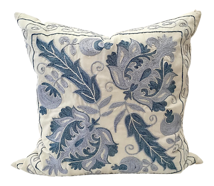 Boho Chic Blue and White Hand Embroidered Toss Pillow