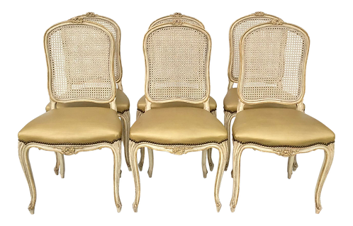 Set of 6 French Louis XV Cain Back Dining Chairs