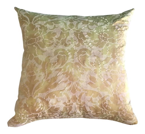 Fortuny Gold Color Down Toss Pillow With Gold Velvet Back