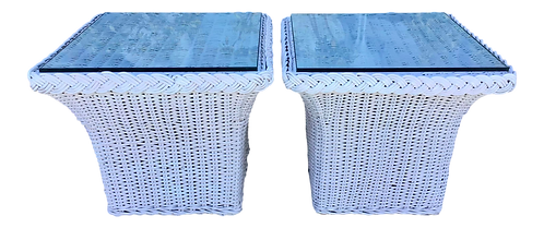 Bielecky Brothers White Square Rattan Side Tables - a Pair