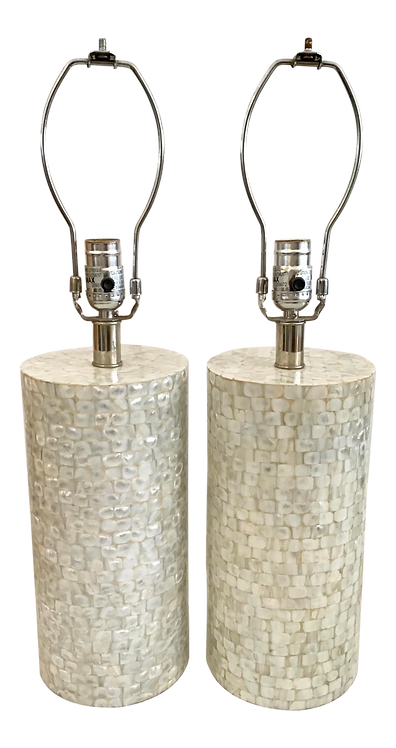 Mother of Pearl Cylinder Form Table Lamps - a Pair