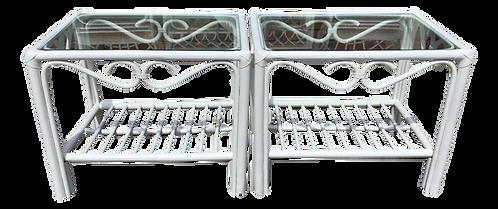 Boho Chic Fresh White Rattan Side Tables - a Pair