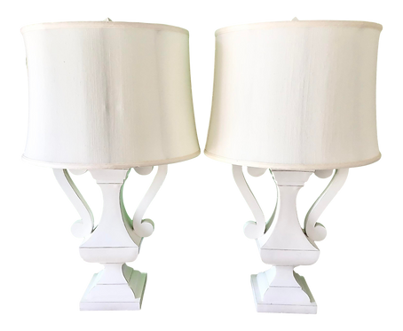 White Lacquered Wood Urn Table Lamps - a Pair