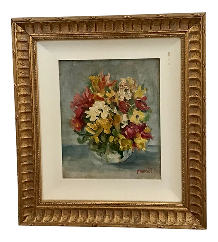 1950s French Floral Still Life Painting