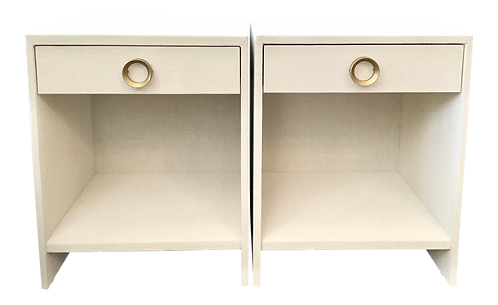 Todd Hase Burlap Wrapped Nightstands With Single Drawer in White - a Pair