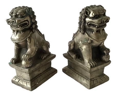 1950s Silver Metal Foo Dogs - a Pair