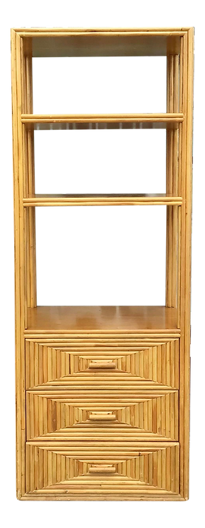 Pencil Reed Rattan Etagere With Three Drawer Storage