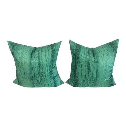 Contemporary Malachite Pillows - A Pair