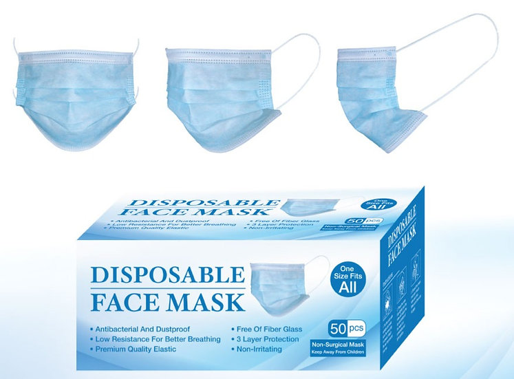 Case of 3ply Protective Face Masks, Non Surgical (2000pcs)