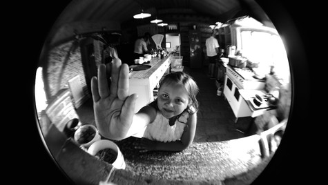 Girl caught in the fish's eye