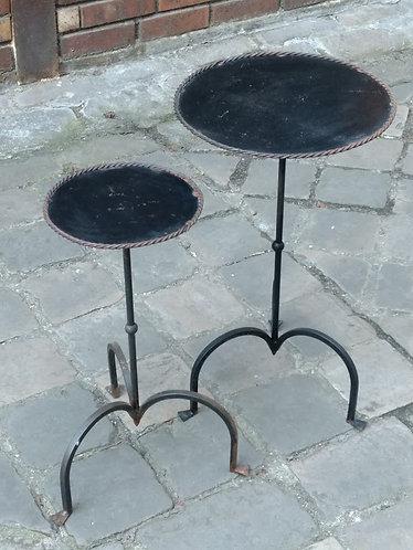 Deux supports de pot de fleurs vintage, fer forgé, Espagne