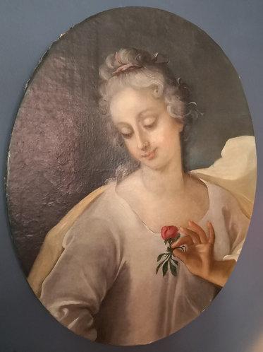 Portrait d'une dame de qualité en Flore, XVIIIe siècle