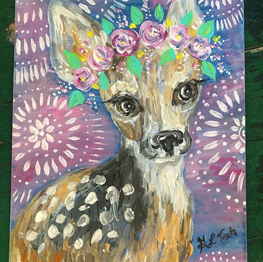 Hi, I'm adorable. 🦌 🌸 11x14in $35 . .