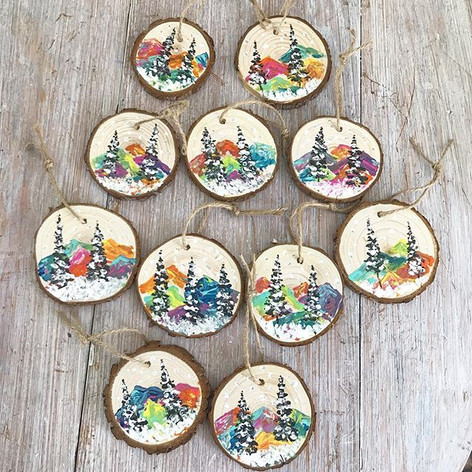NEW! Hand painted wooden disk ornaments!