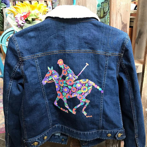Super fun custom denim jacket for a polo