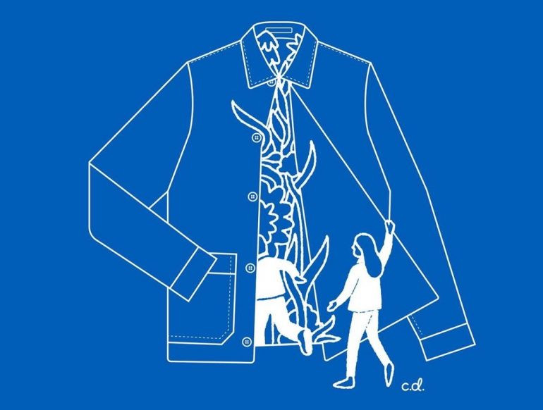 an illustration of a jacket with people entering view the open front