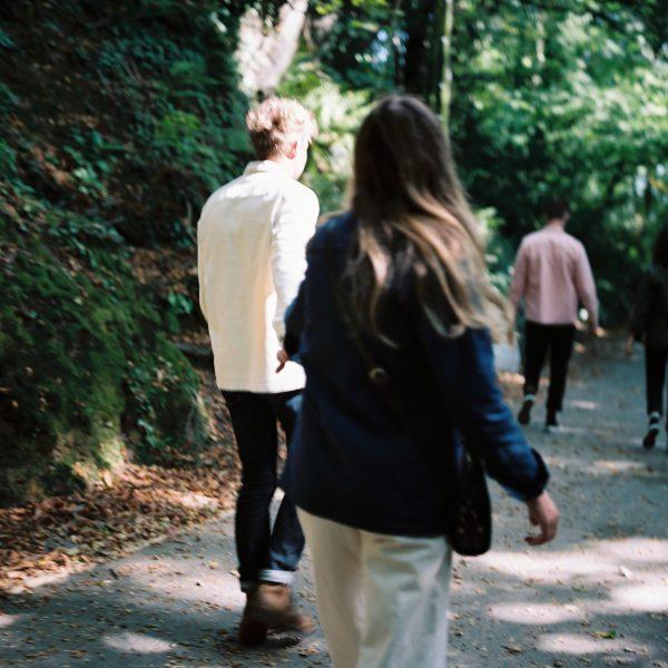 people walking through nature, wearing paynter jackets