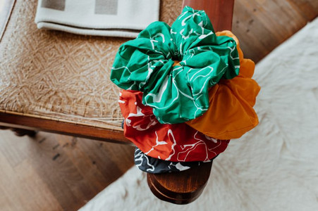 a bunch of scrunchies on a table