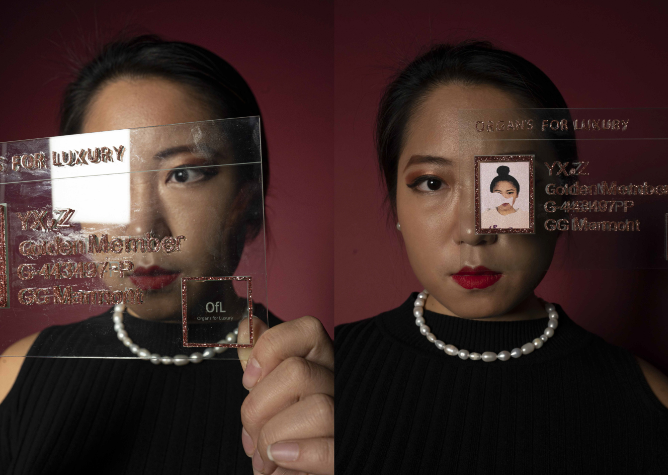 side by side pictures of a woman holding up a perspex ID sign with 'organs for luxury' written on it,